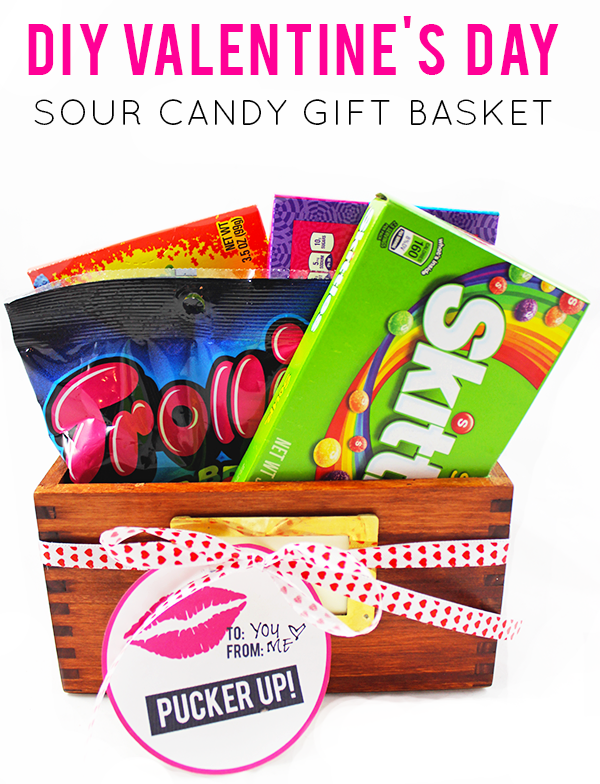 "DIY Sour Candy Gift Basket & ""Pucker Up"" Printable Tag for Valentine's Day"