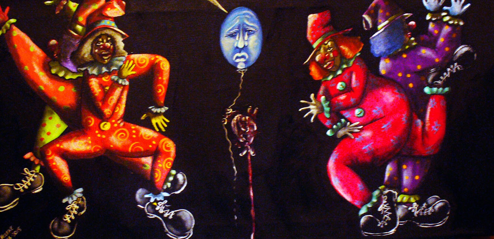 Acrylic painting on black background with two clowns dancing around sad face balloon with heart hanging in center
