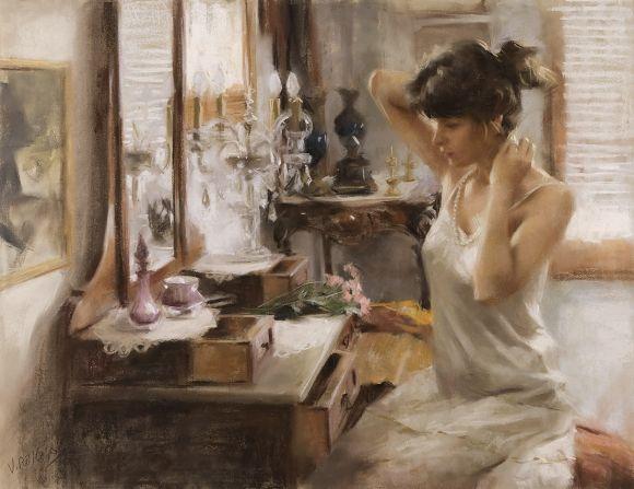 Vicente Romero pinturas mulheres impressionistas beleza Se aprontando