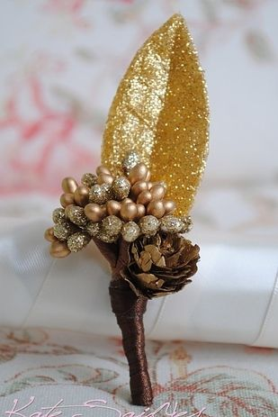 Golden Natural Wedding Boutonniere