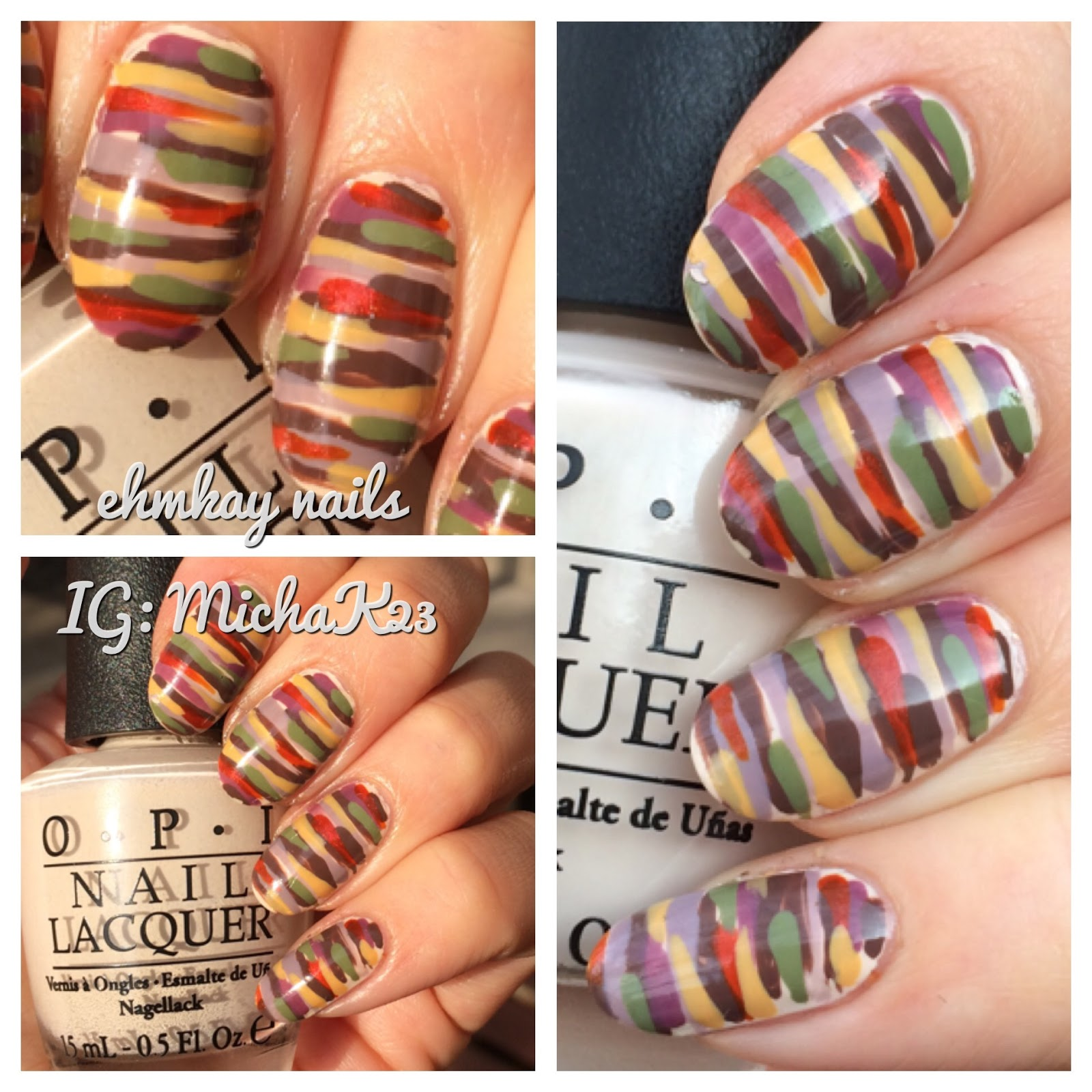 ehmkay nails: Thanksgiving Fall Colored Striped Nail Art