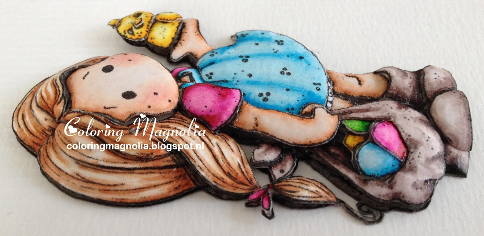 Coloring Magnolia Stamp 2013 Little Easter Collection - Tilda With Egg And Chicken - 3D Paper Piecing Close Up