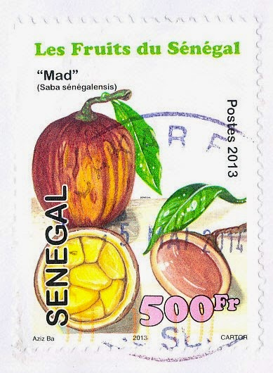 stamp, senegal, mad, saba sénégalensis
