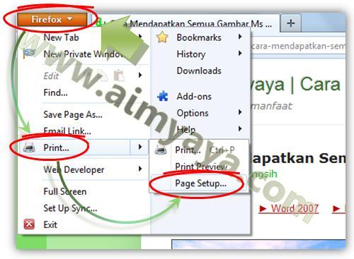 Gambar: Cara mengatur Page setup di Mozilla Firefox