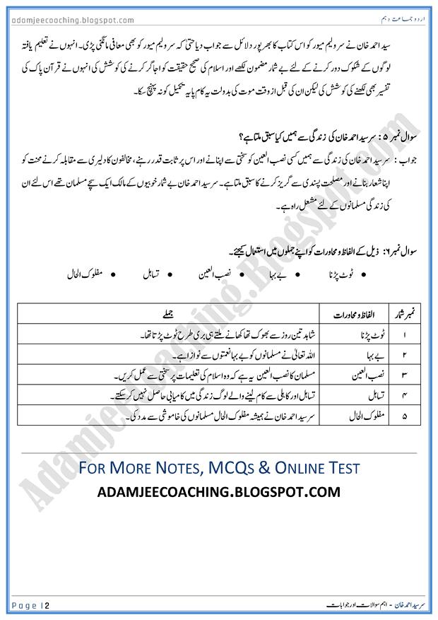 sir-syed-ahmed-khan-question-answers-urdu-10th