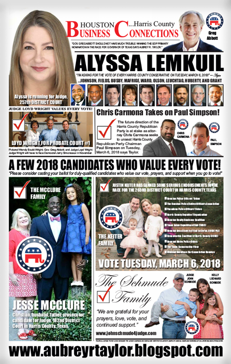 Key 2018 Republican Party Propositions for Primary Voters in Harris County, Texas