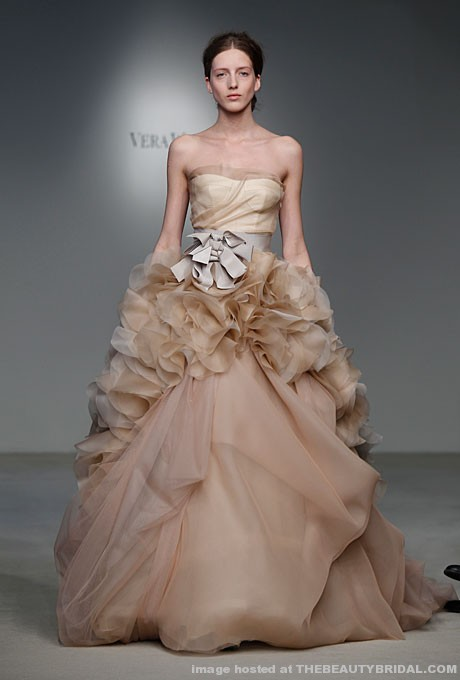 Mad woman 39 s to do list wedding wednesday non white dresses for Vera wang rose wedding dress