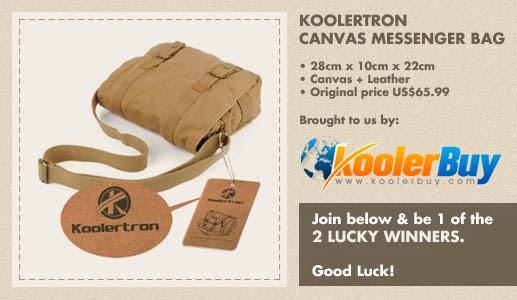 Koolertron Canvas Leather Shoulder (Messenger) Bag