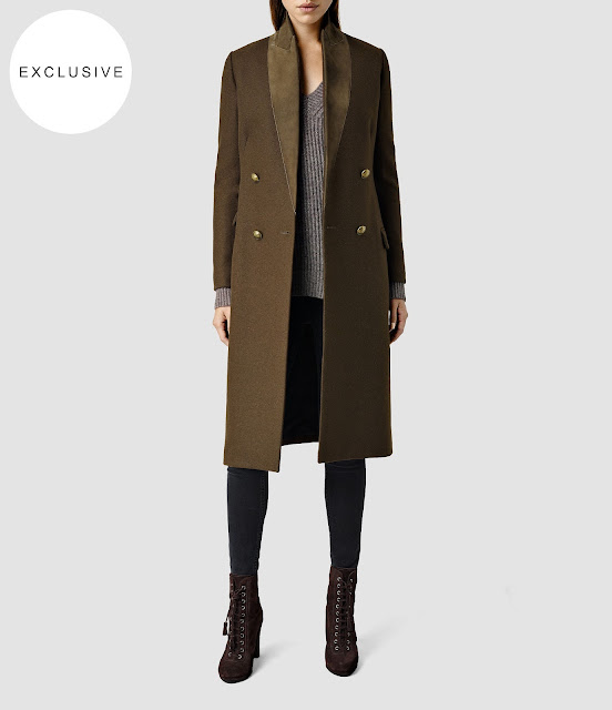 all saints khaki wool coat, all saints Una coat, khaki long wool coat,