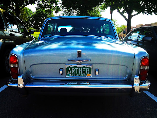A Rolls Royce owner in Colorado with a personalized license plate that says 'Arther'.