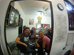 Peanut getting inked in Sao Paulo