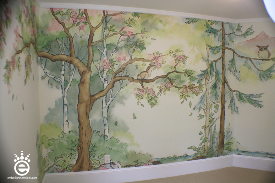 Embellishments kids out of the woods a nursery mural for Baby girl room wall murals