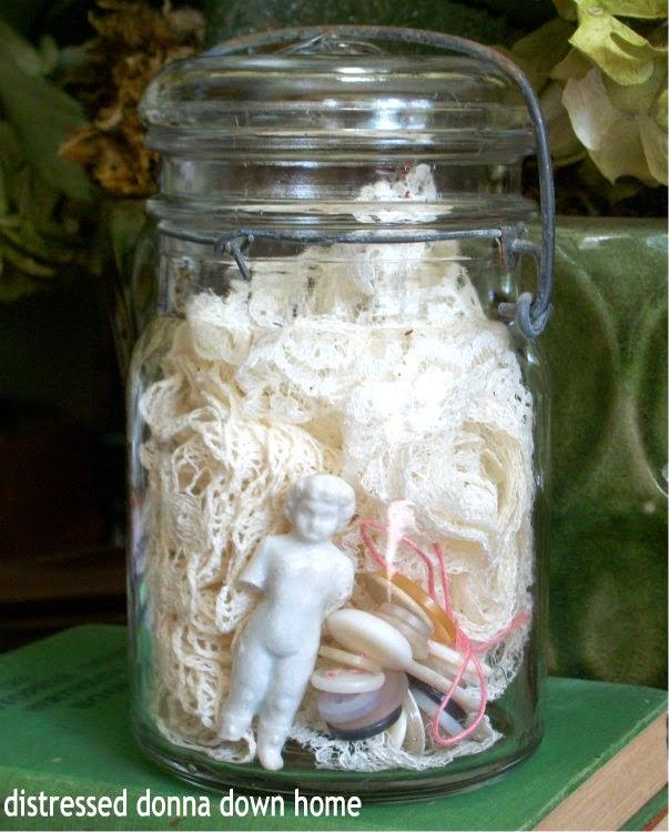 Atlas jar, vintage lace, buttons, Frozen Charlotte, swap meet