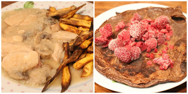SW Meals syn free chicken & mushrooms in white wine sauce and 2 syn chocolate pancakes with raspberries