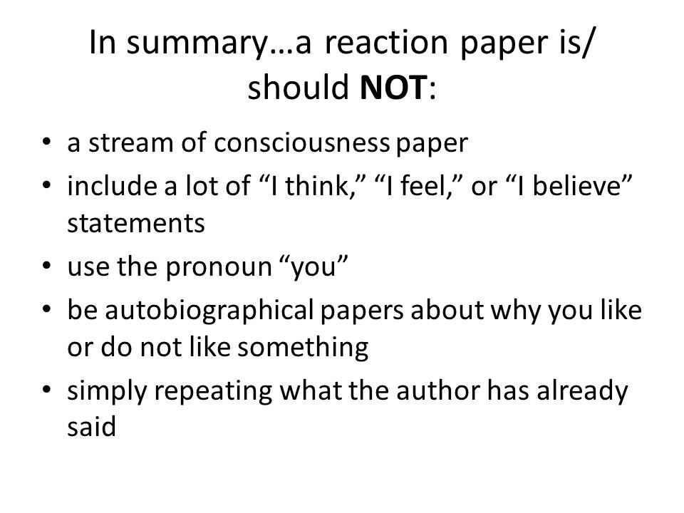 One page reaction paper