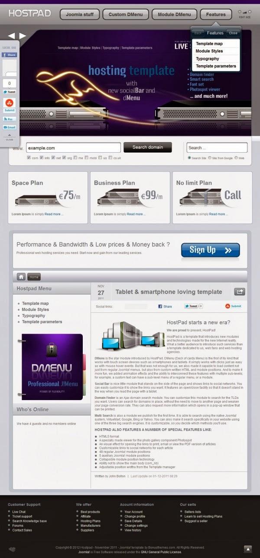 BT HostPad - Bonus Joomla Premium Templates