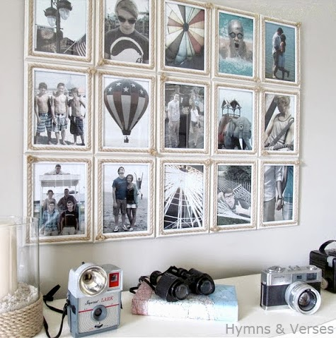 rope picture frame gallery wall