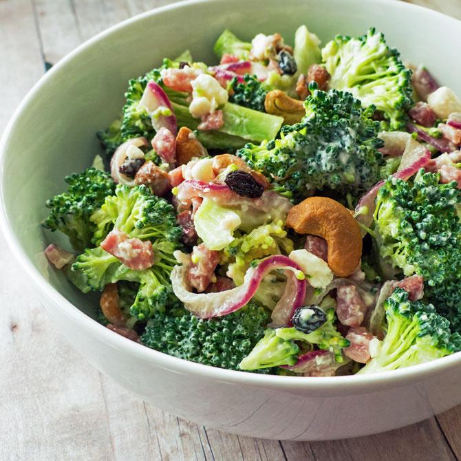 Broccoli Crunch Salad with Prosciutto and Feta