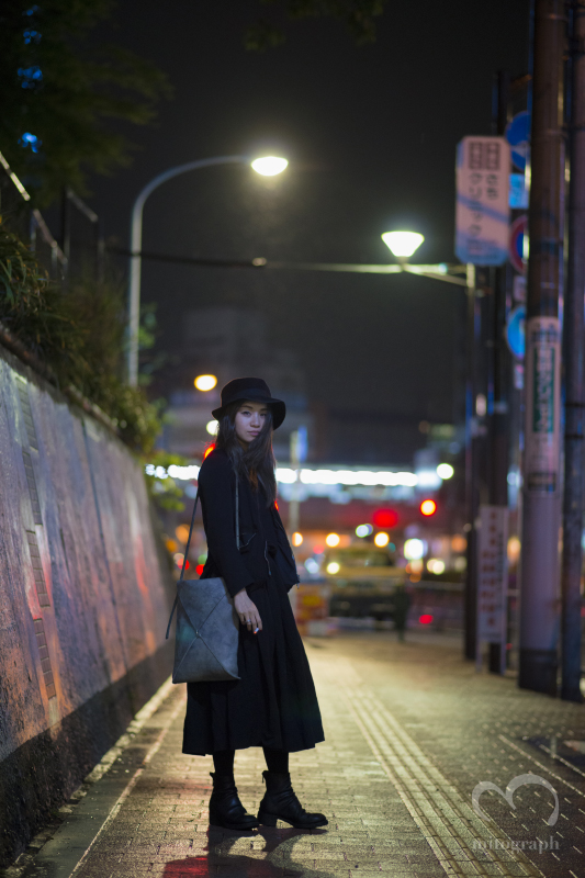 Noir Rain wears Paul Harnden Jacket and Skirt and Hat,MA+bag,Guidi shoes at Tokyo