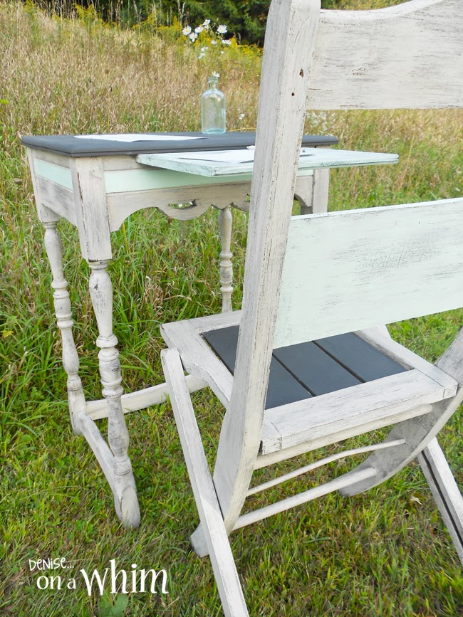 Romantic Antique Writing Table Makeover and Chair from Denise on a Whim