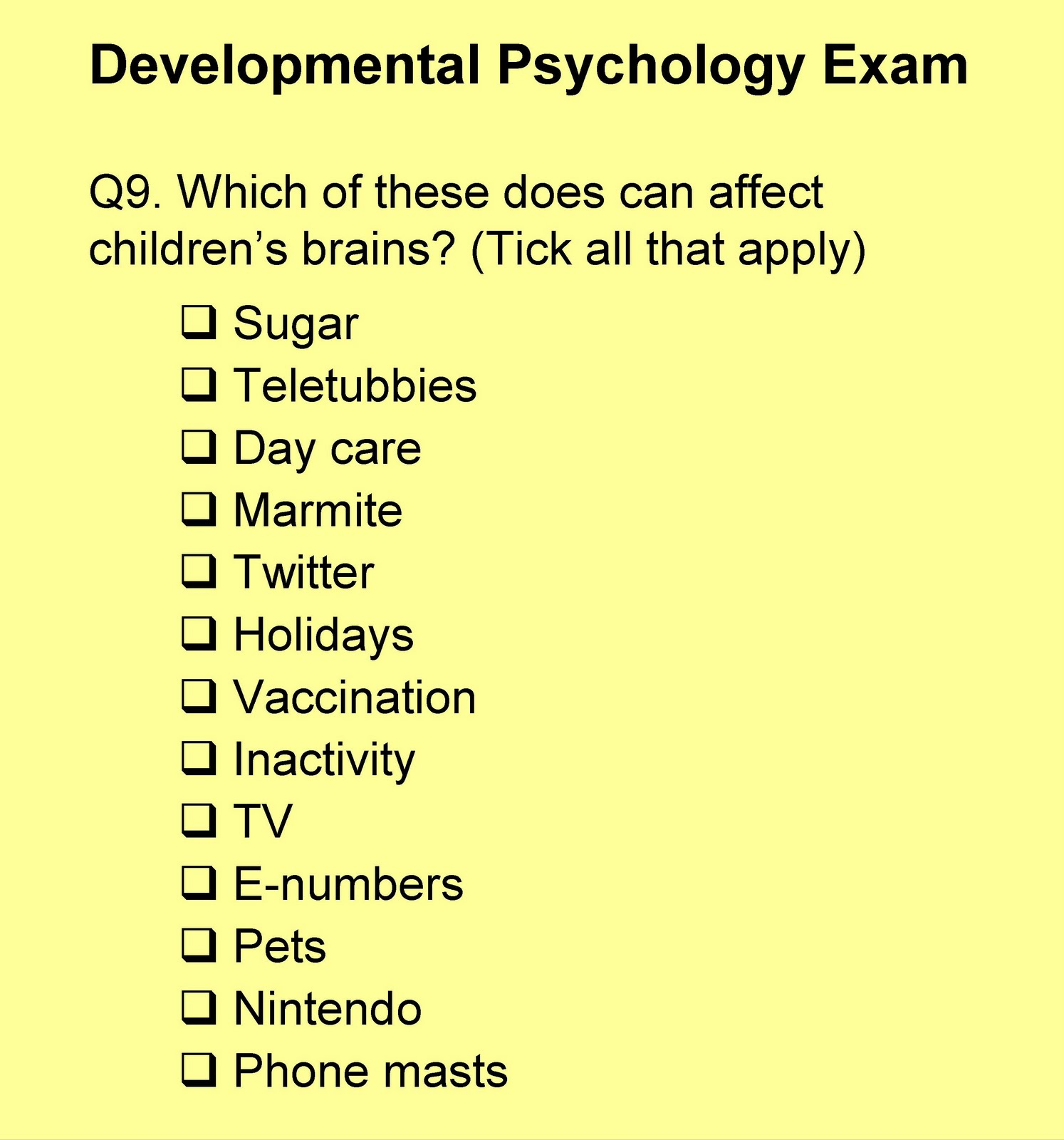 Developmental And Child Psychology research paper topic