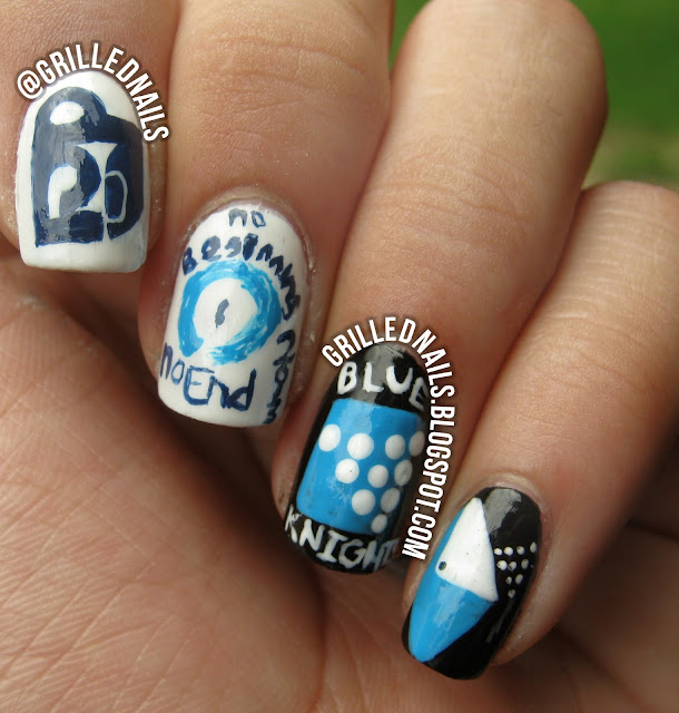 grilled nails nail art design blog drum corps blue knights 2013 show no beginning end hector alfaro color guard china glaze manicure