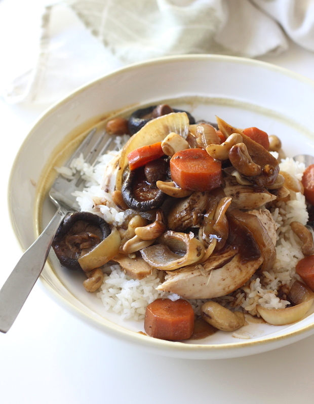 Slow Cooked Five Spice Chicken with Cashews & Shiitake Mushrooms by SeasonWithSpice.com