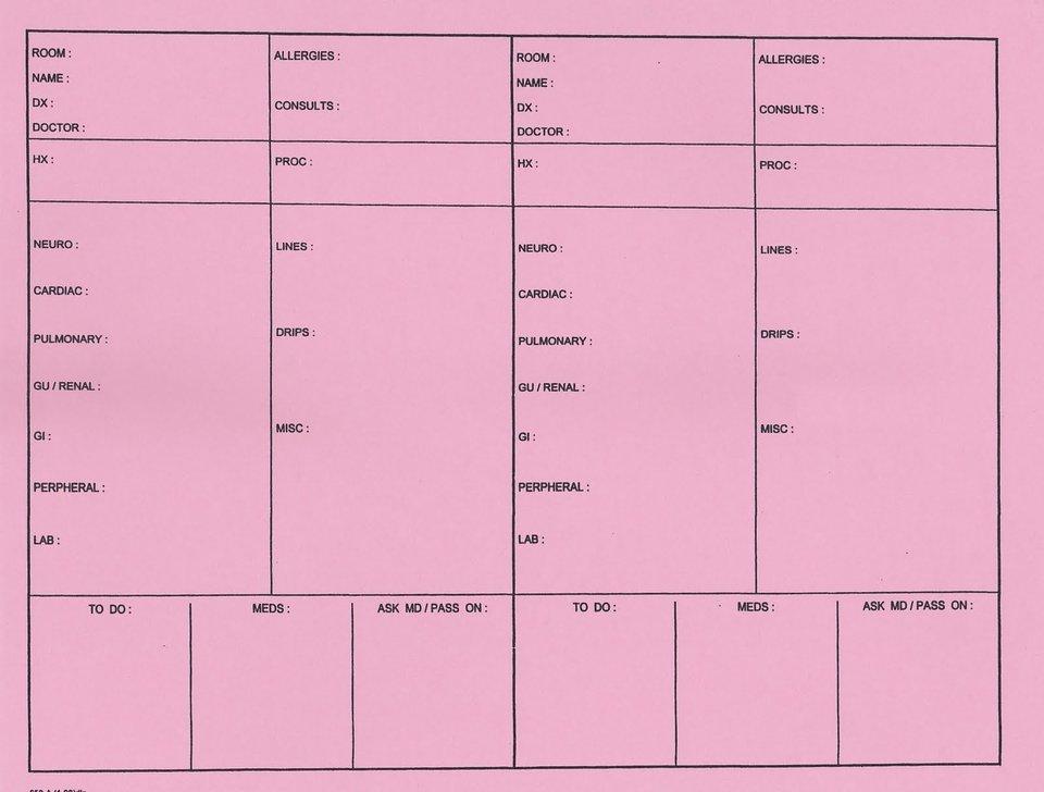 med surg nursing report sheet template