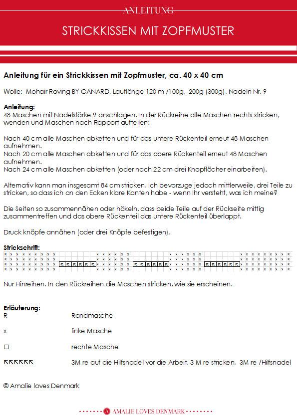 Amalie loves Denmark Anleitung Strickkissen mit Zopfmuster