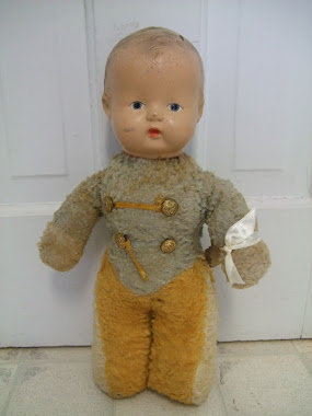 "Adorable ""Majorette"" Composition Rattle Head Doll-1930's?"