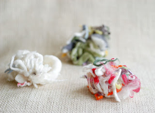 multicolored wool scraps
