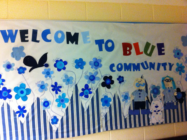 Spring themed blue bulletin board