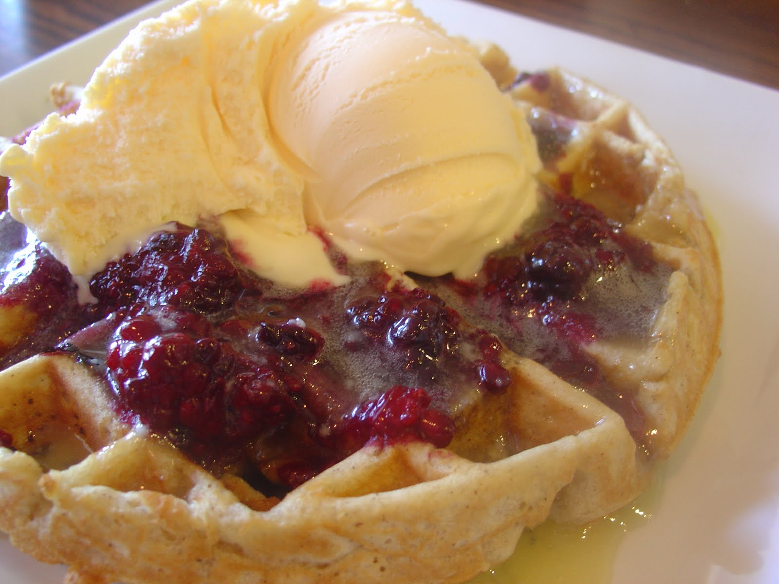 The Sisters Dish: Blackberry Cobbler Waffles