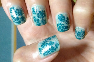 glitter gal silver 3d holo stamping BM204