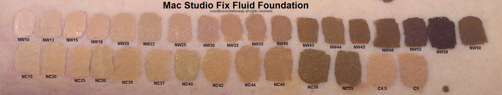 Mac Studio Fix Fluid Foundation; SPF 15 Swatches of Full Coverage Shades