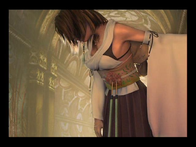 Yuna leaves the temple of Besaid after she acquires her first aeon.