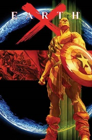 Cover of Earth X, featuring an aged Captain America clad in a rough toga made from the American flag. He stands against a mostly-dark image of the earth, shield in hand.