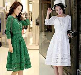 Turf Green/White Three Quarter Sleeve Fit and Flare Lace Dress