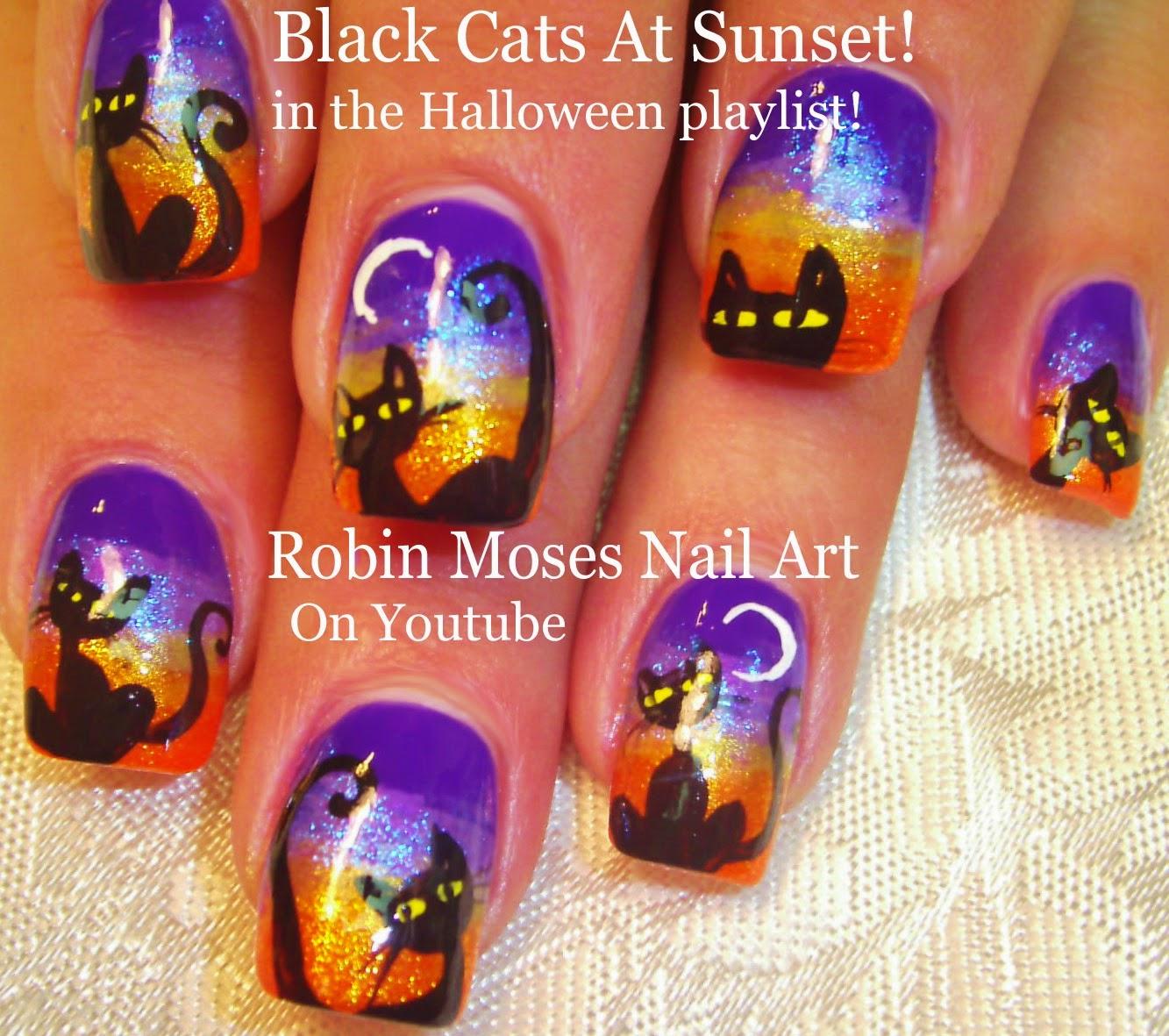 Robin moses nail art cat clip art halloween cats halloween 2 nail art tutorials diy halloween nails cute black cats moons prinsesfo Gallery