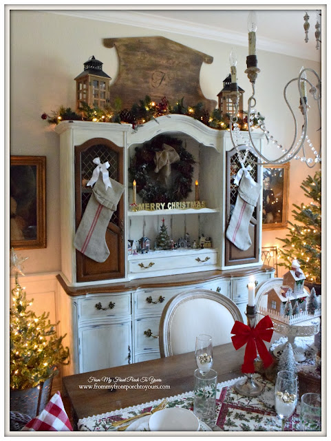 Farmhouse Christmas Dining Room-Dining Room Hutch-Grainsack Stockings- From My Front Porch To Yours