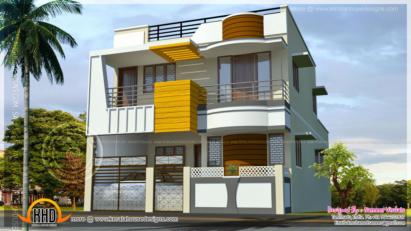 Double storied modern south indian home kerala home for Home models in tamilnadu pictures