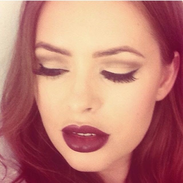 Tanya burr, deep plum lipstick, autumn make-up