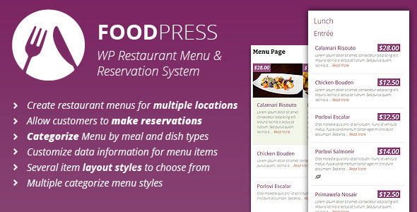 Free Download Foodpress V1.2.4 Restaurant Menu & Reservation Wordpress Plugin