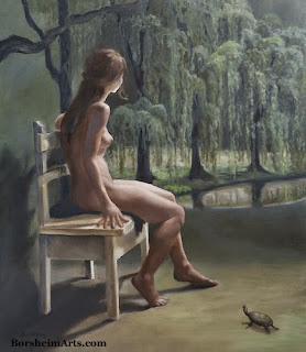 oil painting weeping willow trees reflection live model turtle