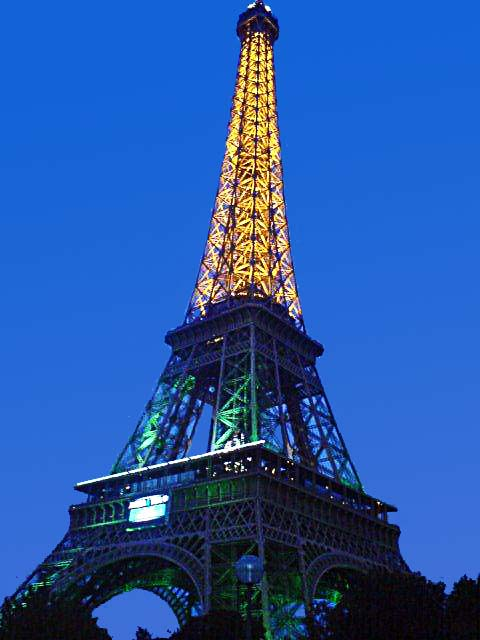 Lighted Eiffel Tower at night