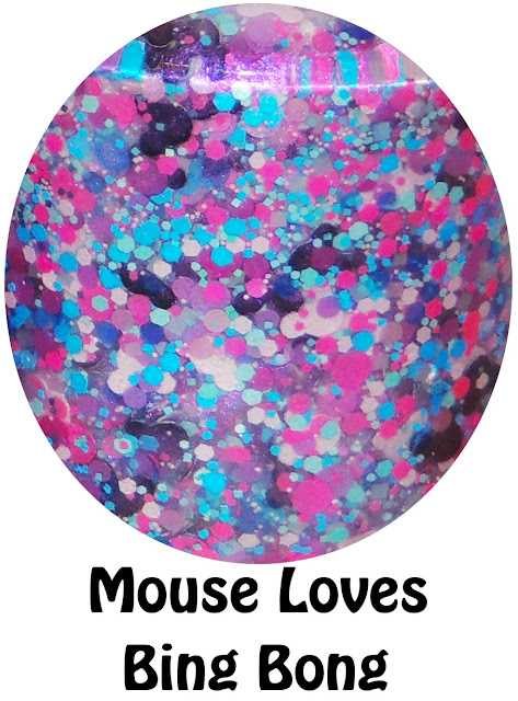 """Mouse Loves Bing Bong- a shimmer base with a violet flash filled with pink mouse heads, black mouse heads, purple circles, blue circles, pink circles, and light blue mini squares and ultra fine blue hex glitter. The picture above shows """"Mouse Loves Bing Bong"""" over Salon Perfect Sugar Cube and also over Essie Licorice. This polish has a slight violet flash and shows up better when applied over black. And of course Bing Bong is from movie Inside Out. :)"""