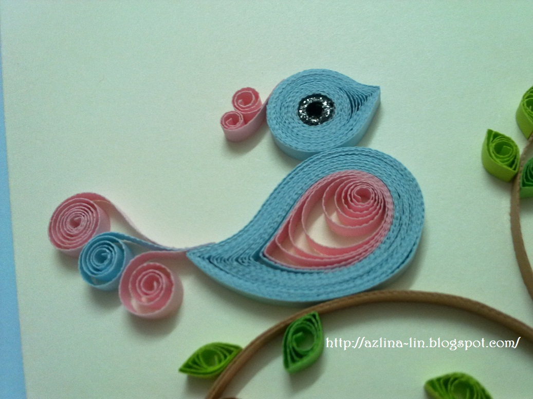 A pink blue quilled bird for Big quilling designs