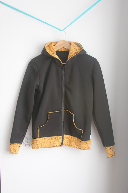 bluza, kaptur, zamek, czarna, kolor, kieszenie