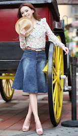 Flare A-line Knee Length Denim Skirt