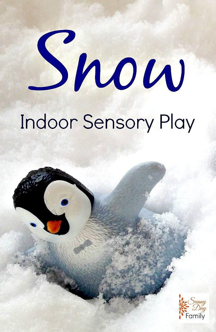 Too cold to play outside? Bring the snow inside for an awesome sensory play experience!